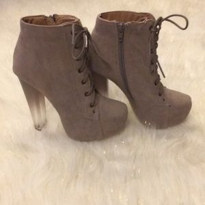 Tan Lace Up Ombré Block Heels Booties Size 6
